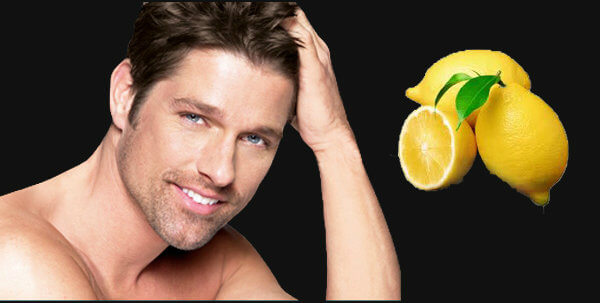 Men dandruff treatment by using lemon