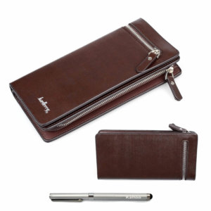 Brown Smooth Faux Leather Men's Carrying Wallet Case
