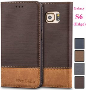 Leather Wallet Cover Flip Cases Galaxy S6 Edge Case