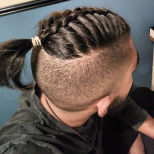 Braids-bun and side undercuts