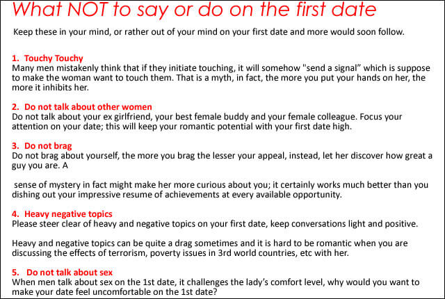What to do in a first date